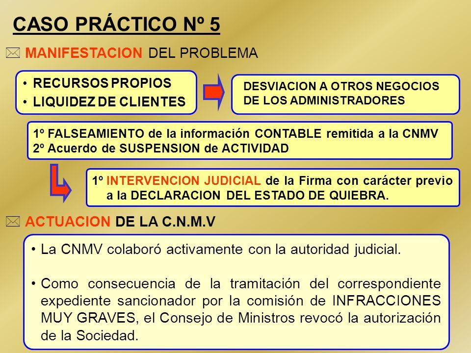 CASO PRÁCTICO Nº 5 MANIFESTACION DEL PROBLEMA ACTUACION DE LA C.N.M.V