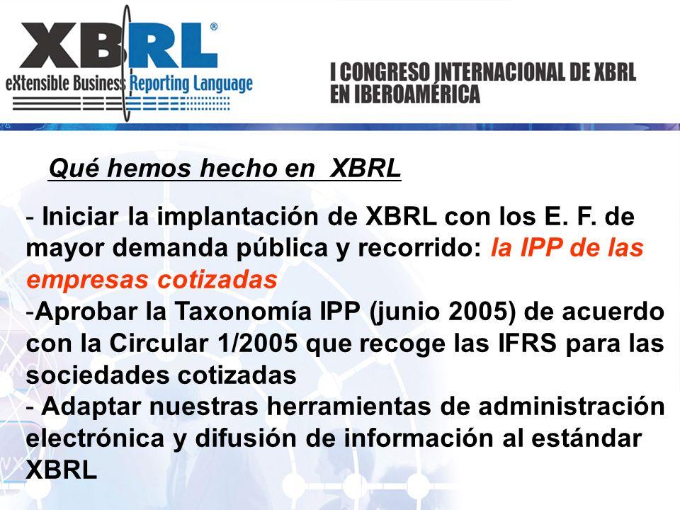Qué hemos hecho en XBRL Iniciar la implantación de XBRL con los E. F. de mayor demanda pública y recorrido: la IPP de las empresas cotizadas.