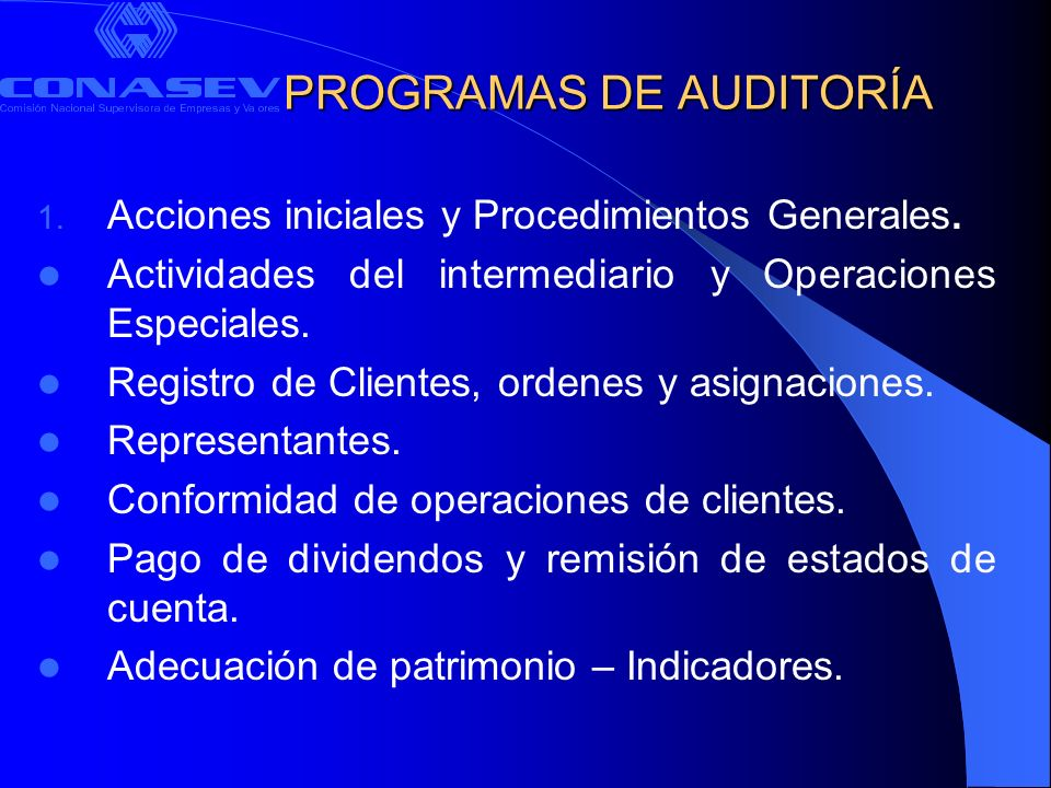 PROGRAMAS DE AUDITORÍA