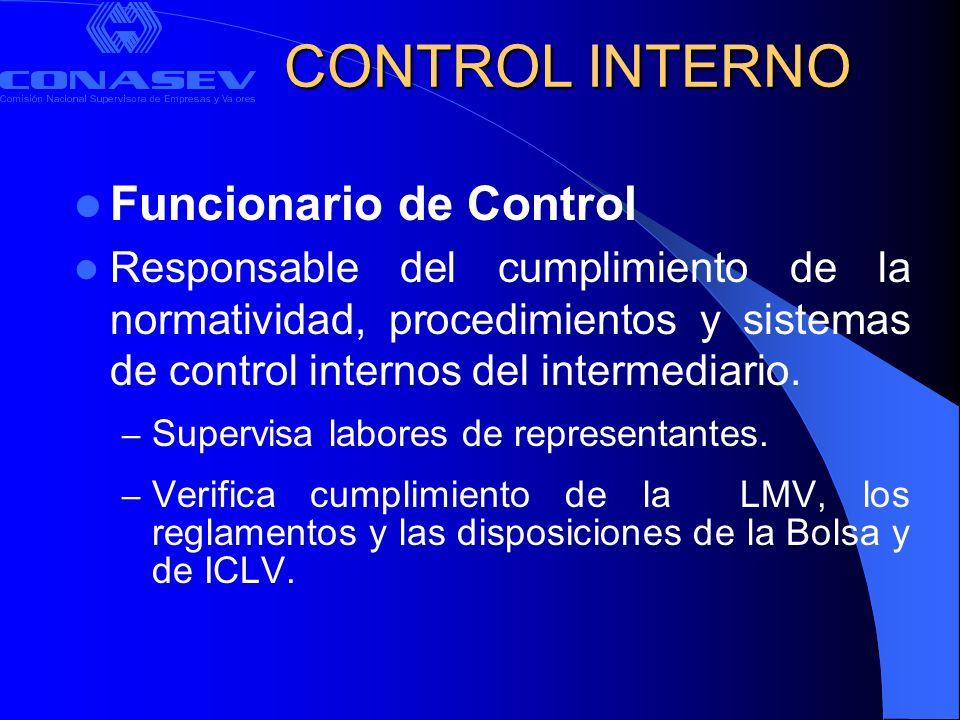 CONTROL INTERNO Funcionario de Control