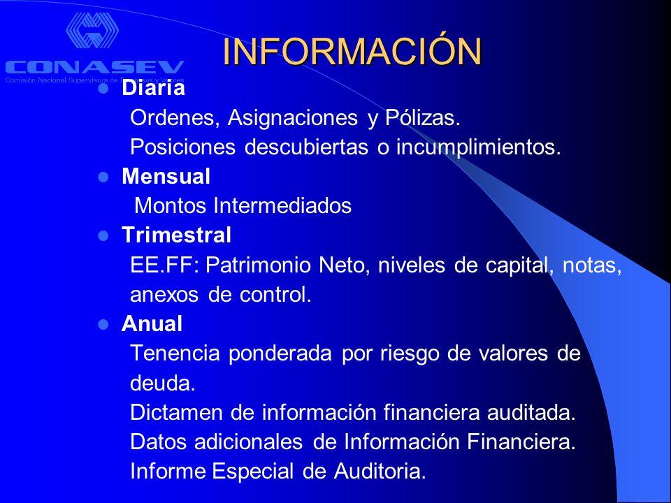 INFORMACIÓN Diaria Ordenes, Asignaciones y Pólizas.