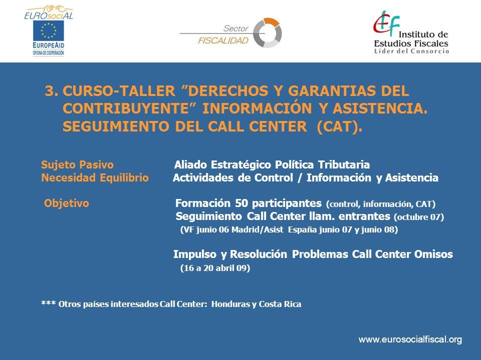 3. CURSO-TALLER DERECHOS Y GARANTIAS DEL CONTRIBUYENTE INFORMACIÓN Y ASISTENCIA. SEGUIMIENTO DEL CALL CENTER (CAT).