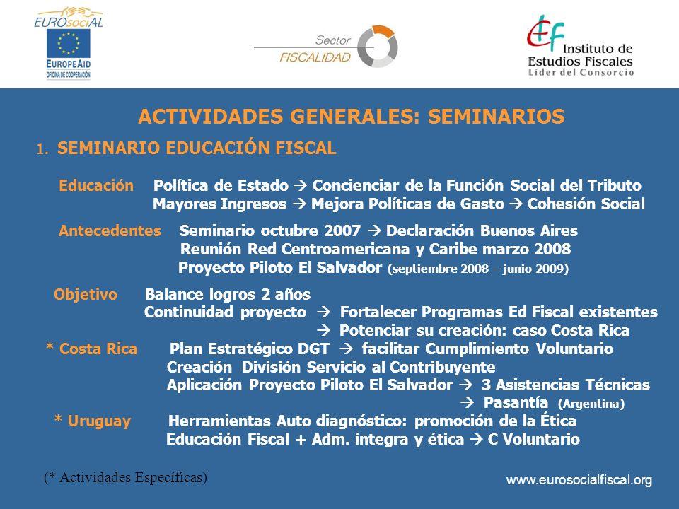 ACTIVIDADES GENERALES: SEMINARIOS