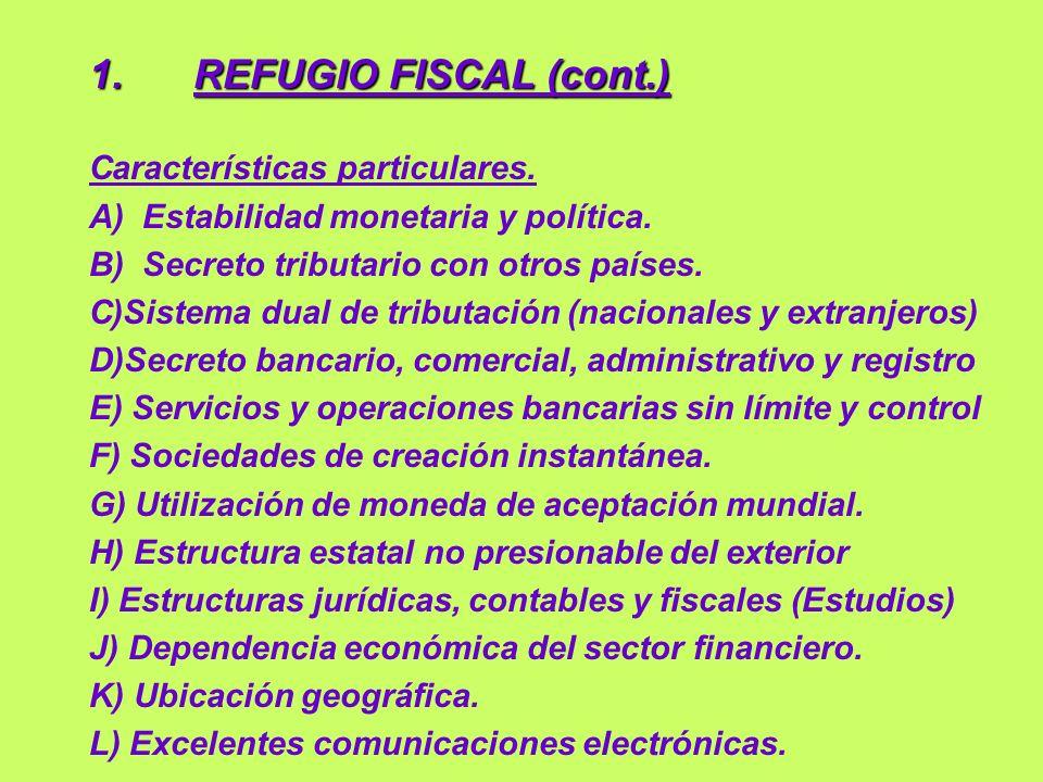 1. REFUGIO FISCAL (cont.) Características particulares.