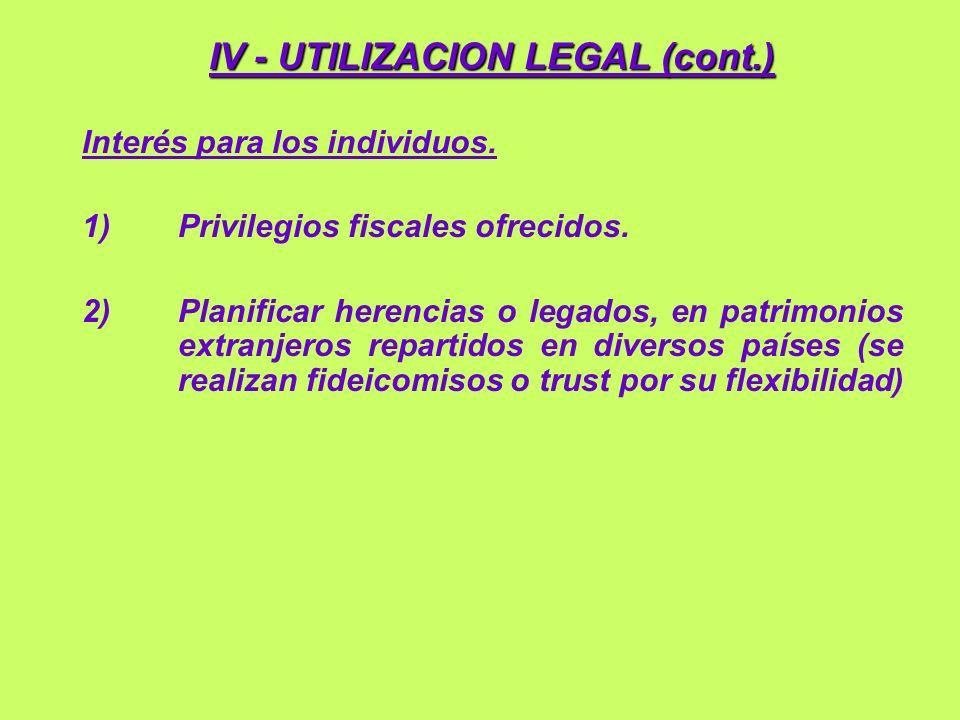 IV - UTILIZACION LEGAL (cont.)