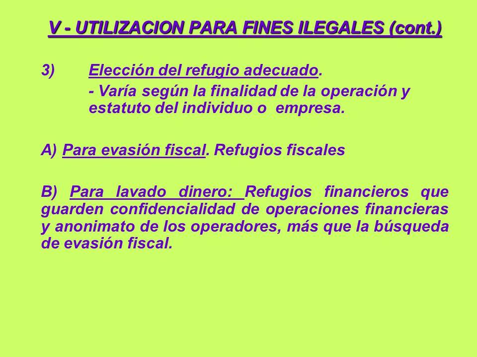 V - UTILIZACION PARA FINES ILEGALES (cont.)