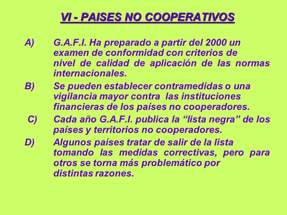 VI - PAISES NO COOPERATIVOS