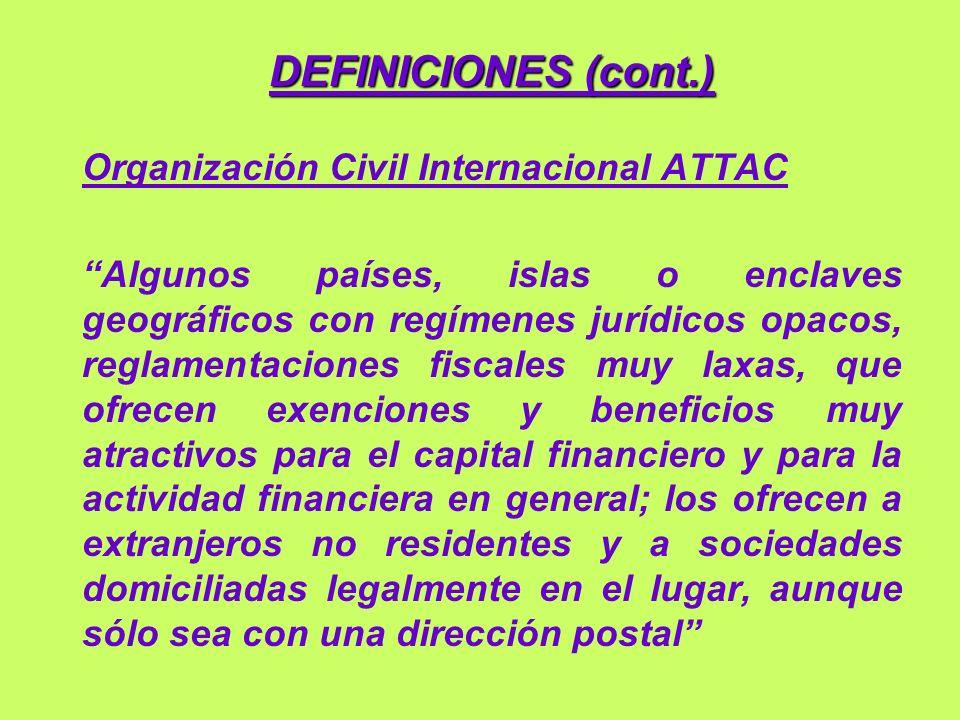 DEFINICIONES (cont.) Organización Civil Internacional ATTAC
