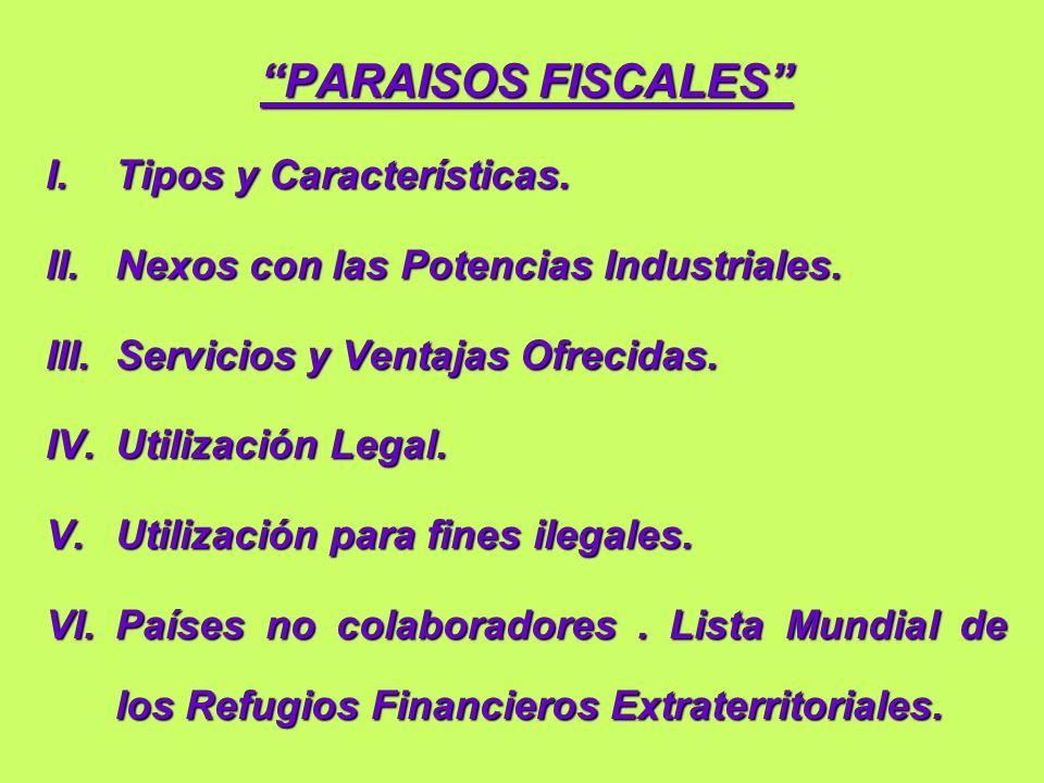 PARAISOS FISCALES I. Tipos y Características.