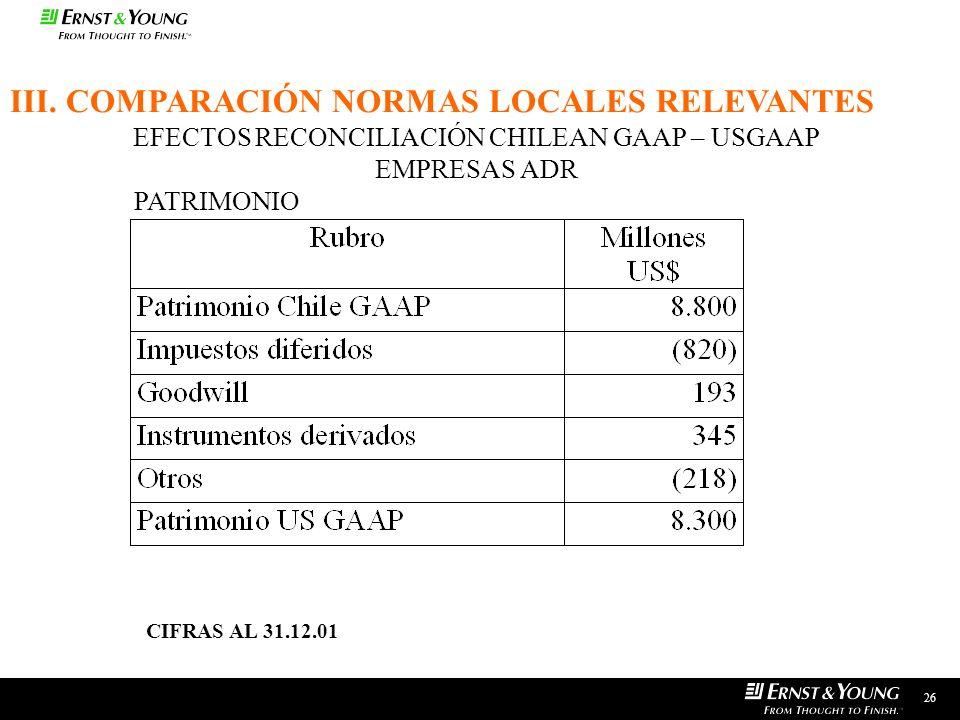 EFECTOS RECONCILIACIÓN CHILEAN GAAP – USGAAP EMPRESAS ADR