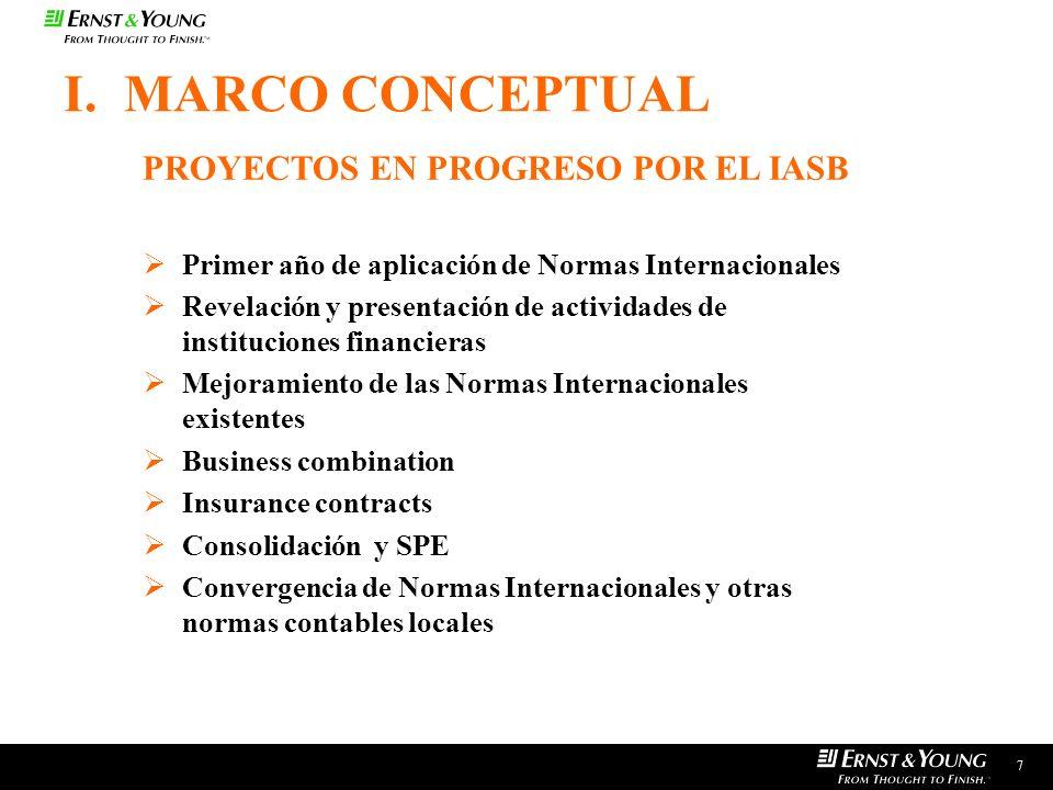 I. MARCO CONCEPTUAL PROYECTOS EN PROGRESO POR EL IASB