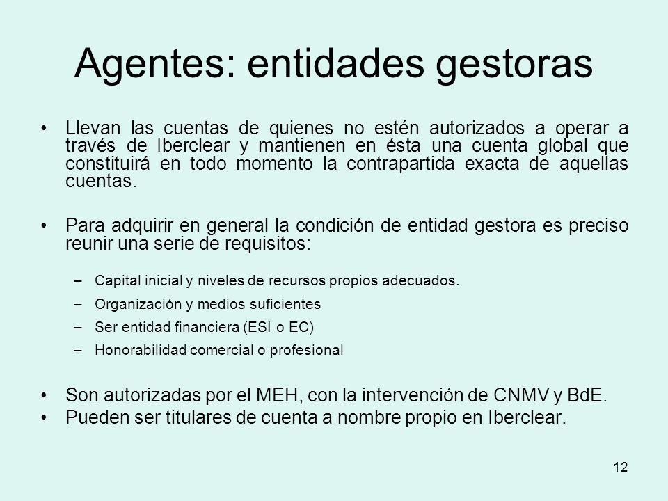 Agentes: entidades gestoras