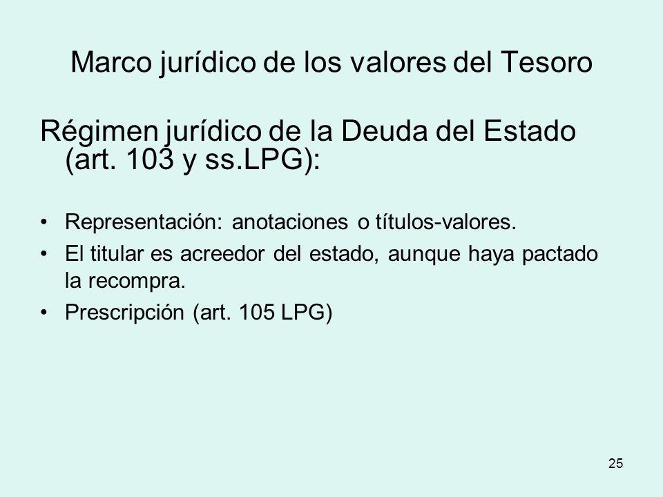 Marco jurídico de los valores del Tesoro