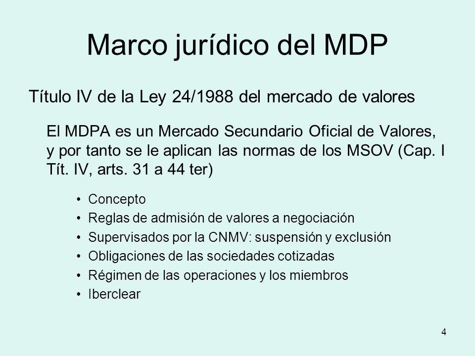 Marco jurídico del MDP Título IV de la Ley 24/1988 del mercado de valores.