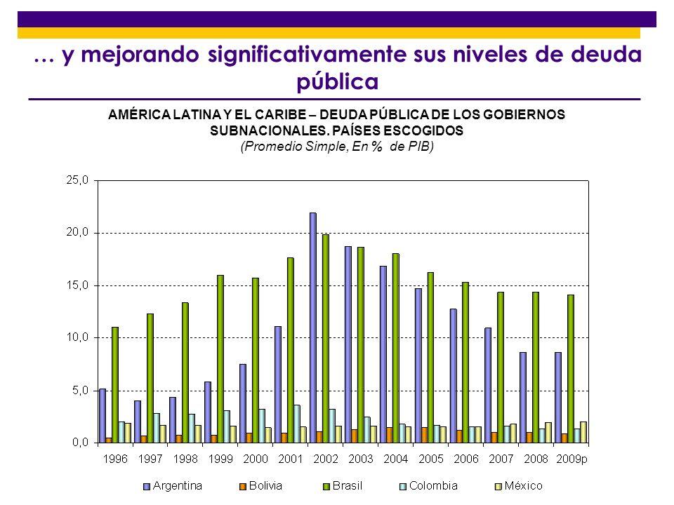 … y mejorando significativamente sus niveles de deuda pública