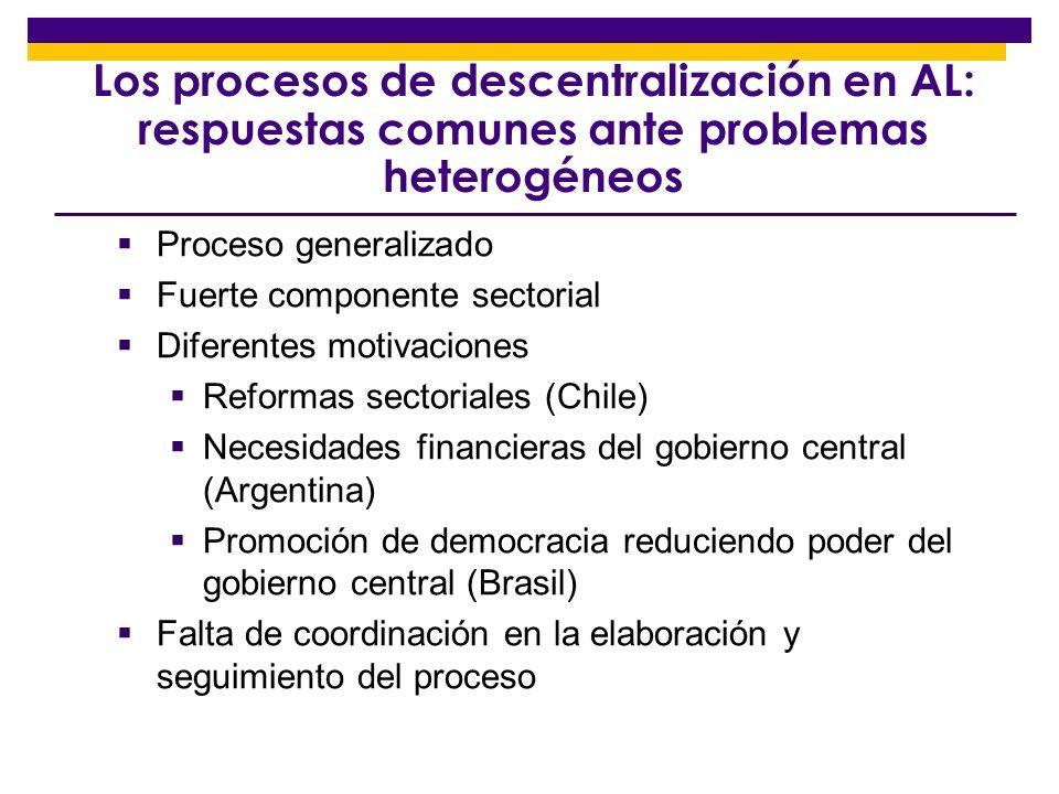 Los procesos de descentralización en AL: respuestas comunes ante problemas heterogéneos