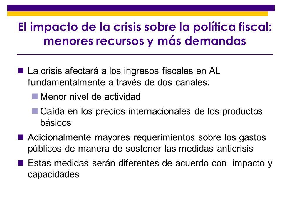 El impacto de la crisis sobre la política fiscal: menores recursos y más demandas
