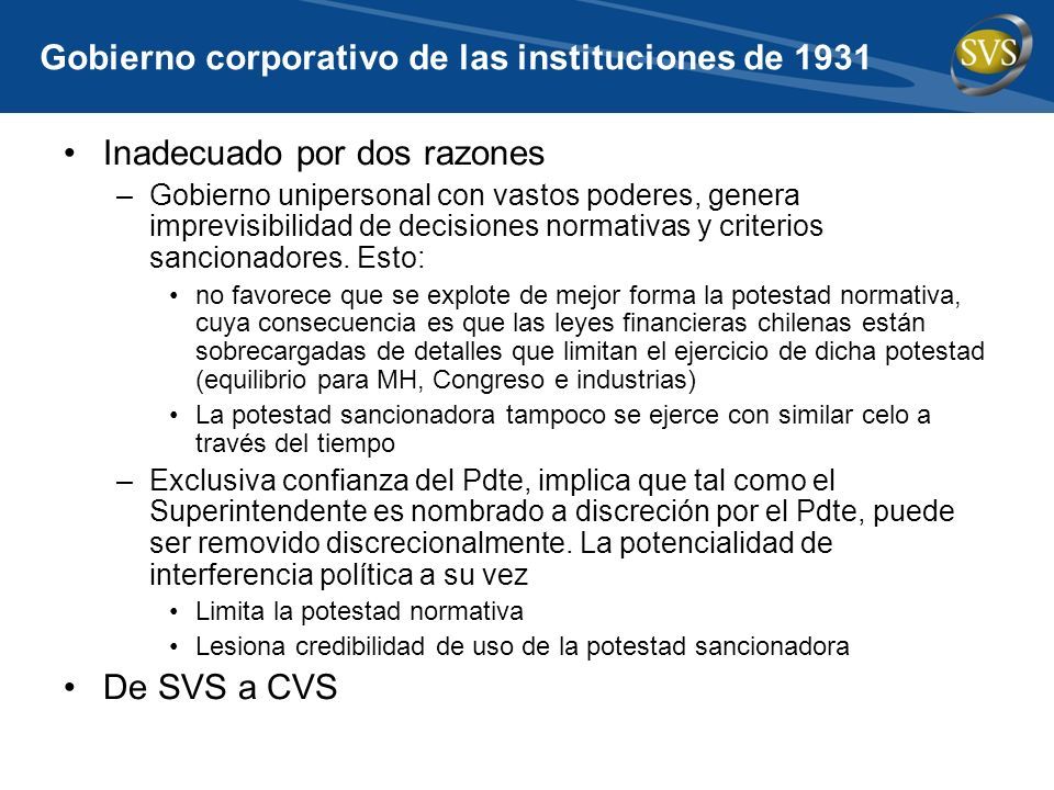 Gobierno corporativo de las instituciones de 1931