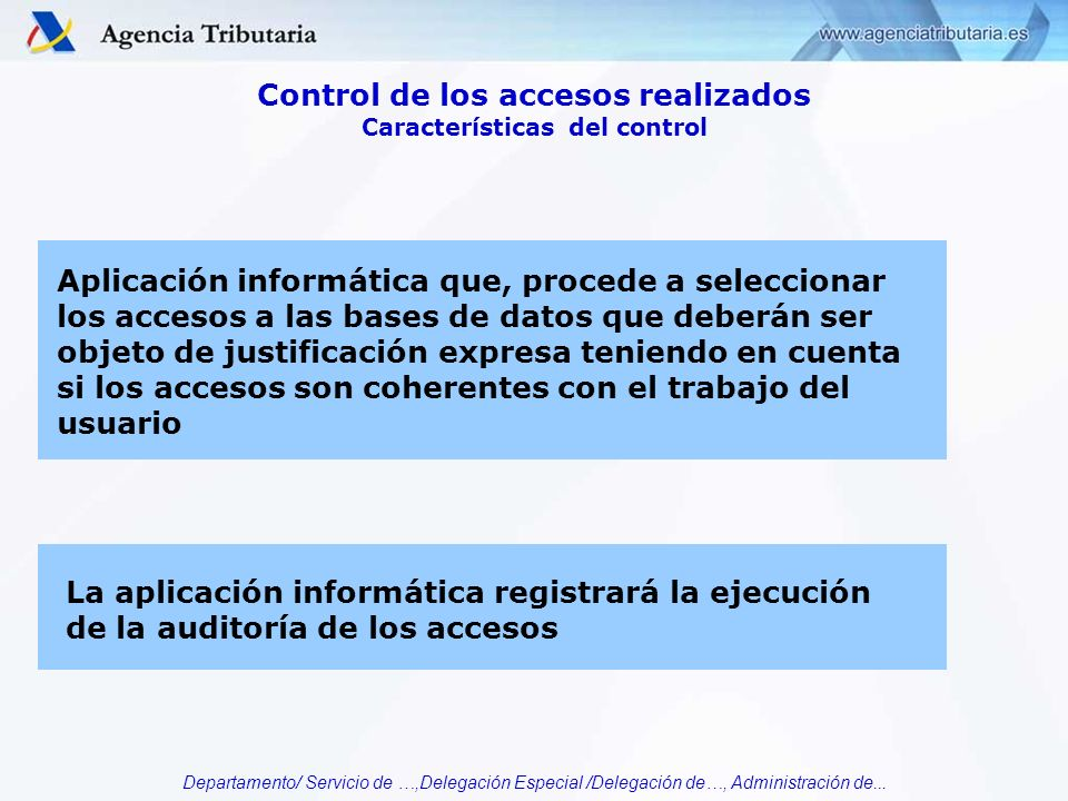 Control de los accesos realizados Características del control
