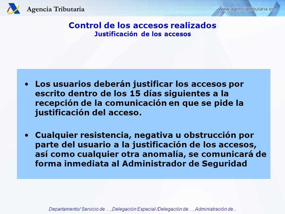 Control de los accesos realizados Justificación de los accesos