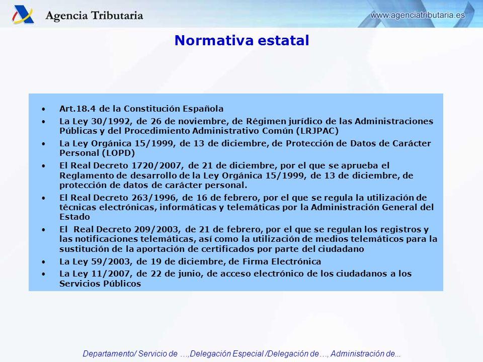 Normativa estatal Art.18.4 de la Constitución Española