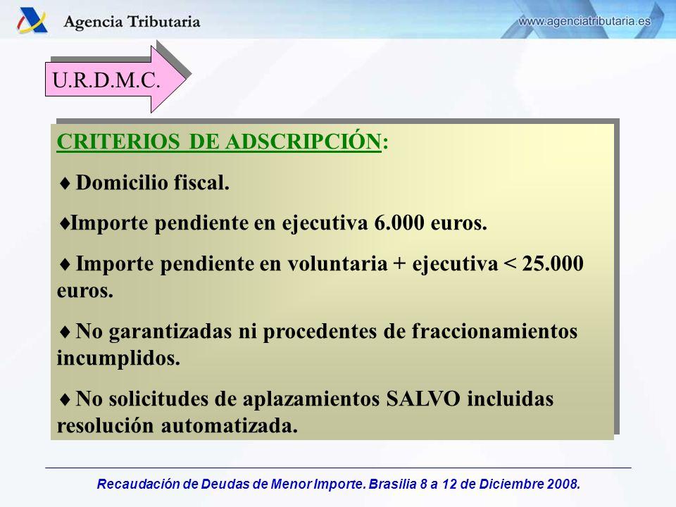 U.R.D.M.C. CRITERIOS DE ADSCRIPCIÓN: Domicilio fiscal. Importe pendiente en ejecutiva 6.000 euros.