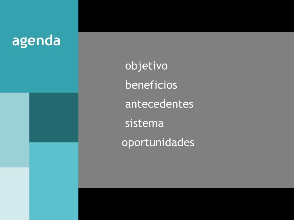 agenda objetivo beneficios antecedentes sistema oportunidades