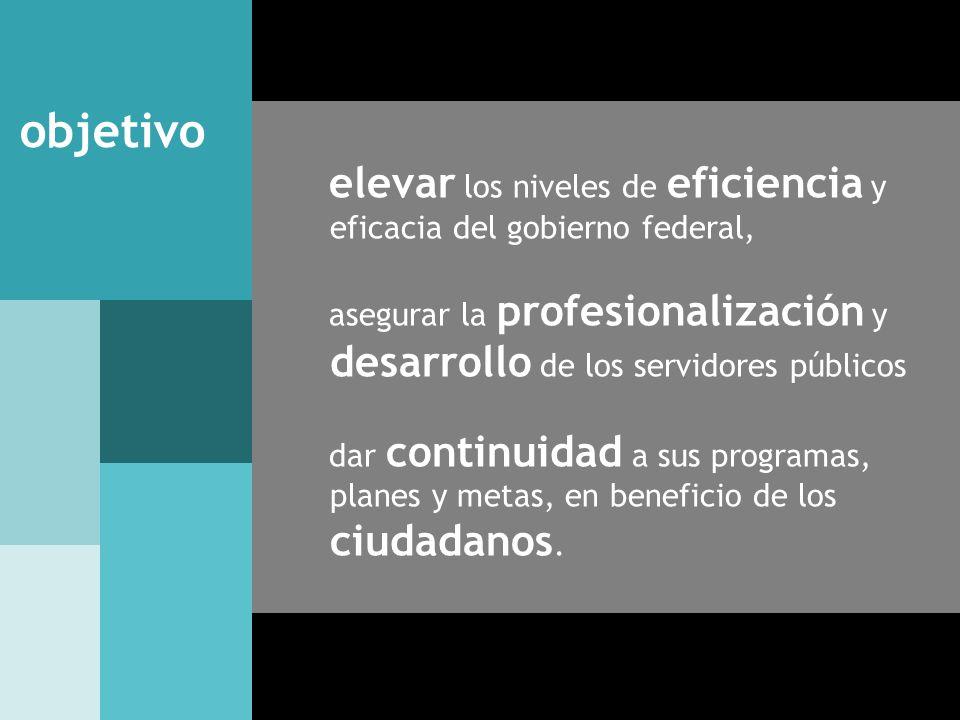 objetivo elevar los niveles de eficiencia y eficacia del gobierno federal, asegurar la profesionalización y desarrollo de los servidores públicos.