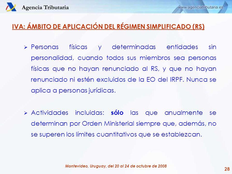 IVA: ÁMBITO DE APLICACIÓN DEL RÉGIMEN SIMPLIFICADO (RS)