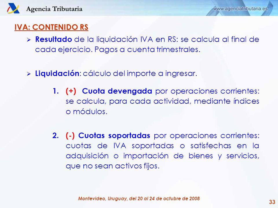 IVA: CONTENIDO RS Resultado de la liquidación IVA en RS: se calcula al final de cada ejercicio. Pagos a cuenta trimestrales.
