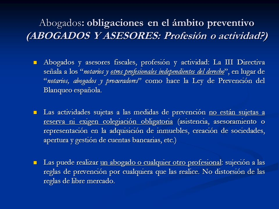 Abogados: obligaciones en el ámbito preventivo (ABOGADOS Y ASESORES: Profesión o actividad )
