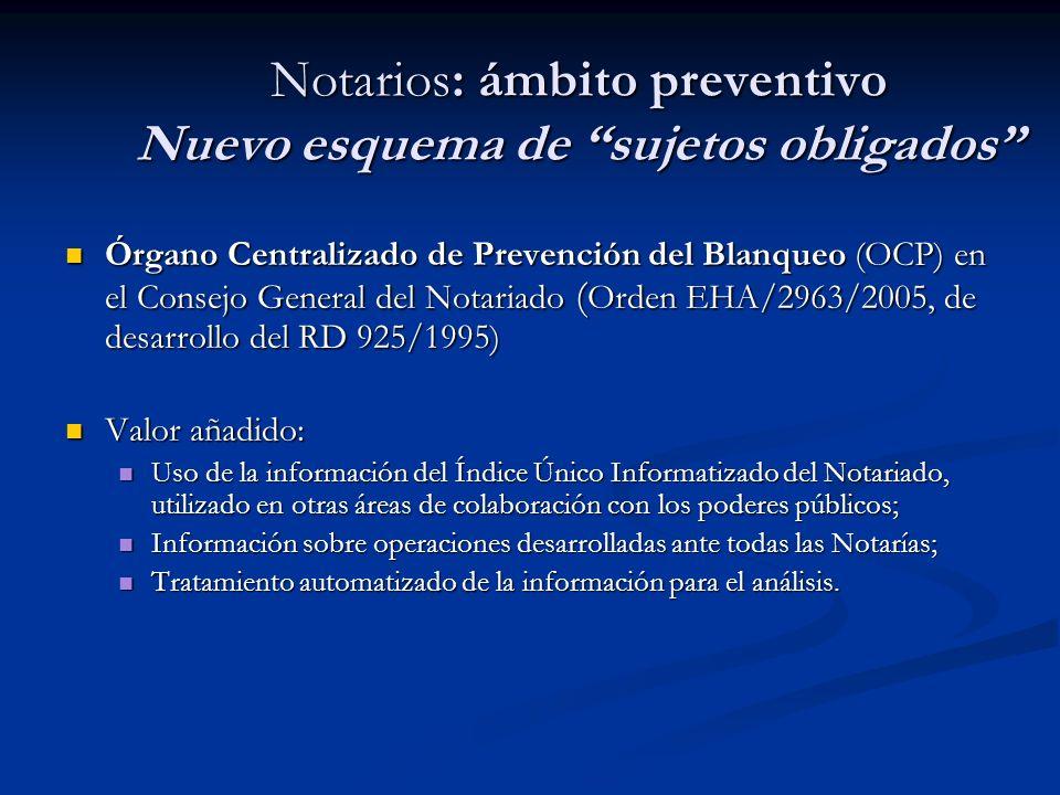 Notarios: ámbito preventivo Nuevo esquema de sujetos obligados