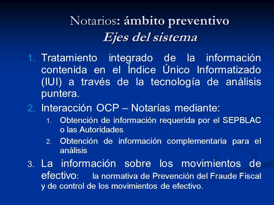 Notarios: ámbito preventivo Ejes del sistema