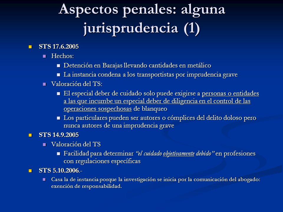 Aspectos penales: alguna jurisprudencia (1)