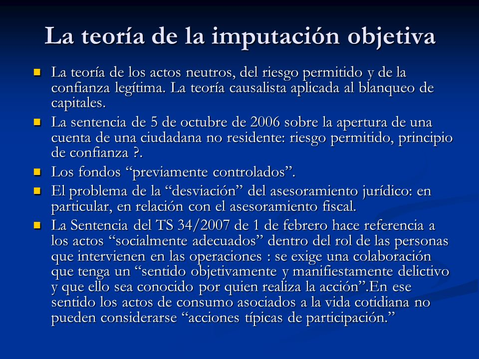La teoría de la imputación objetiva