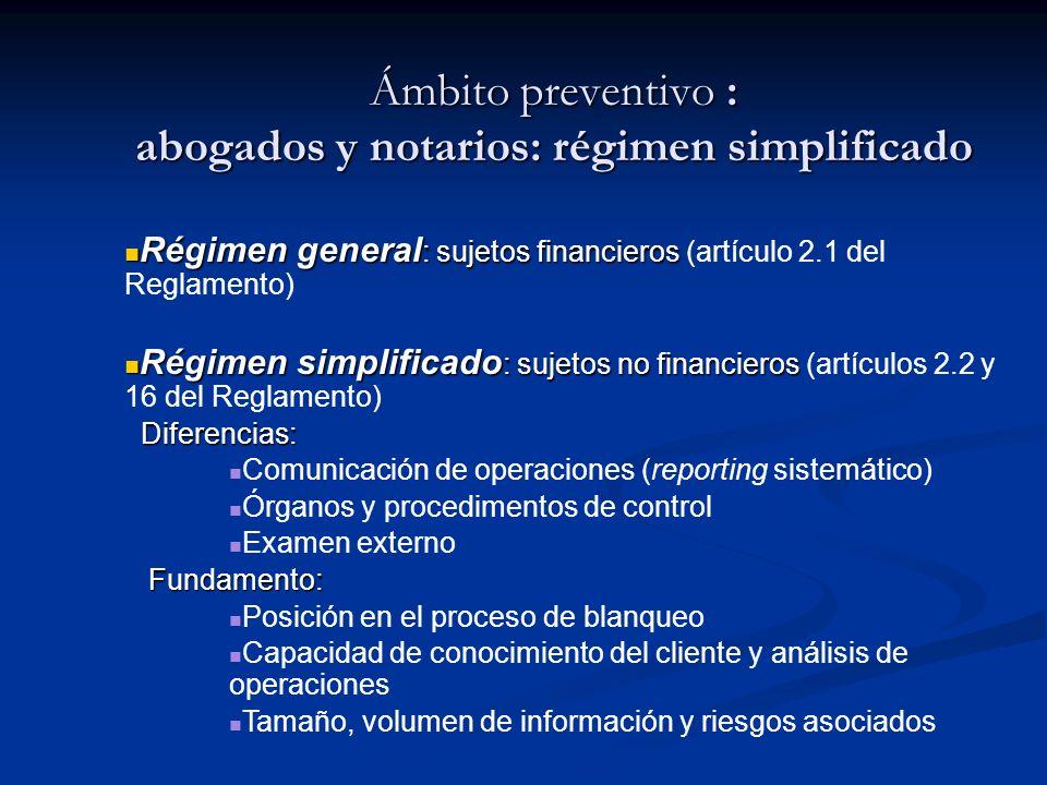 Ámbito preventivo : abogados y notarios: régimen simplificado