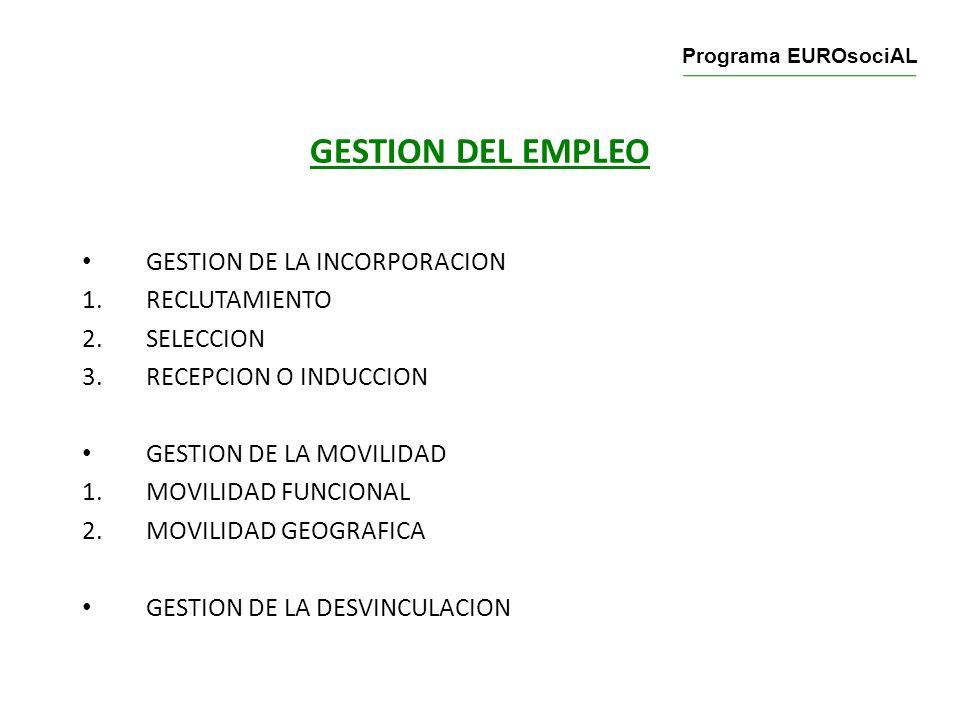 GESTION DEL EMPLEO GESTION DE LA INCORPORACION RECLUTAMIENTO SELECCION
