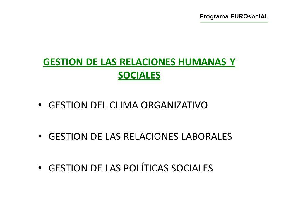 GESTION DE LAS RELACIONES HUMANAS Y SOCIALES