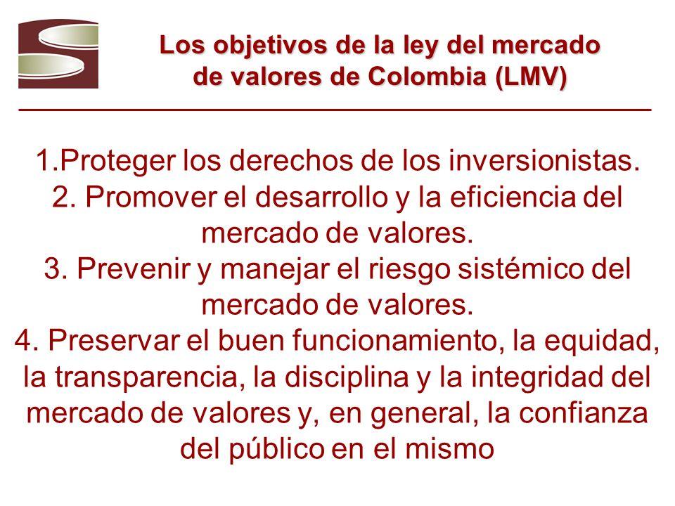 Los objetivos de la ley del mercado de valores de Colombia (LMV)