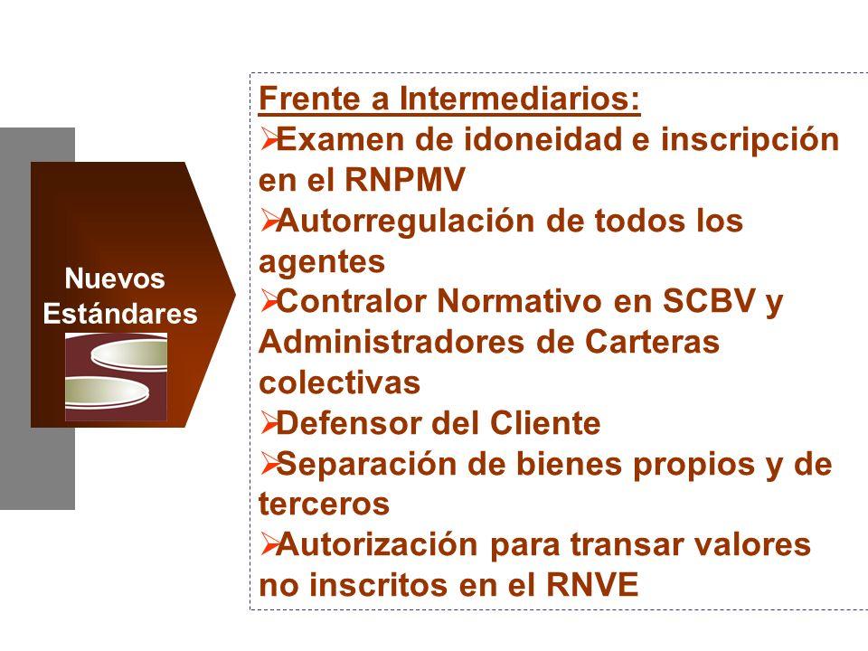 Frente a Intermediarios: Examen de idoneidad e inscripción en el RNPMV