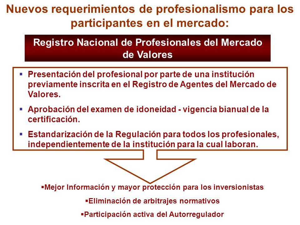 Nuevos requerimientos de profesionalismo para los participantes en el mercado: