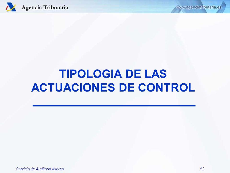 TIPOLOGIA DE LAS ACTUACIONES DE CONTROL