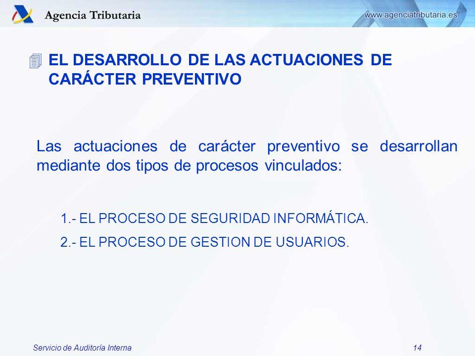 EL DESARROLLO DE LAS ACTUACIONES DE CARÁCTER PREVENTIVO