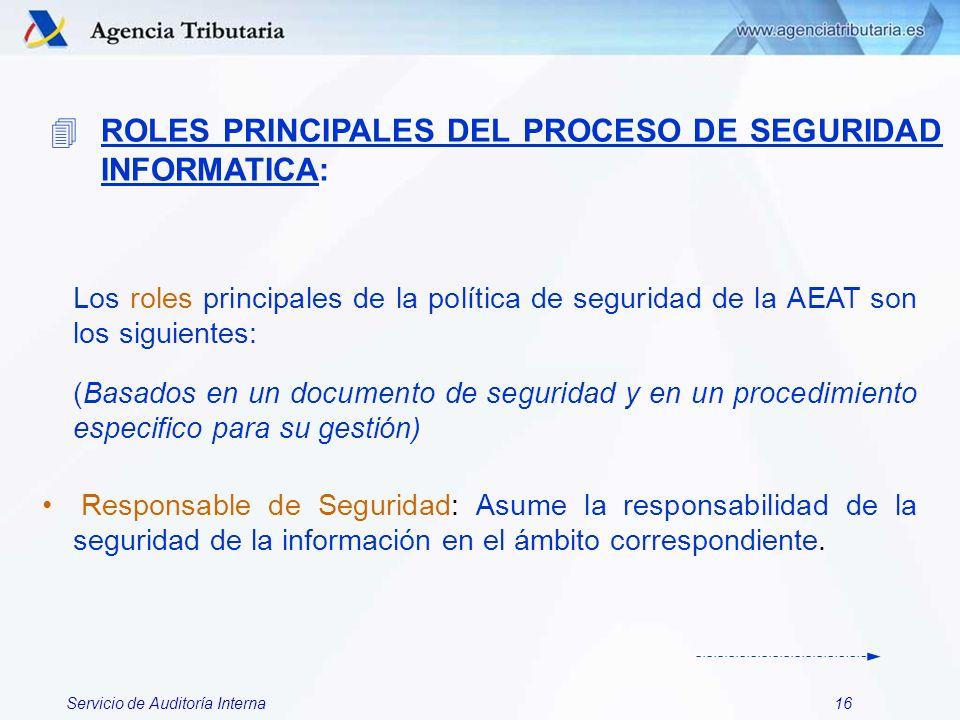 ROLES PRINCIPALES DEL PROCESO DE SEGURIDAD INFORMATICA: