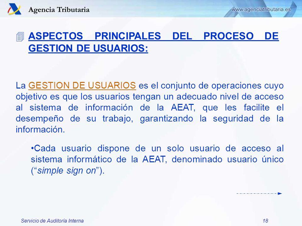 ASPECTOS PRINCIPALES DEL PROCESO DE GESTION DE USUARIOS: