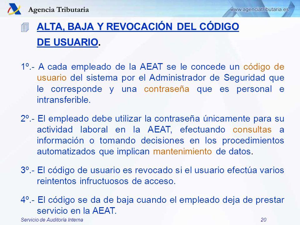 ALTA, BAJA Y REVOCACIÓN DEL CÓDIGO DE USUARIO.