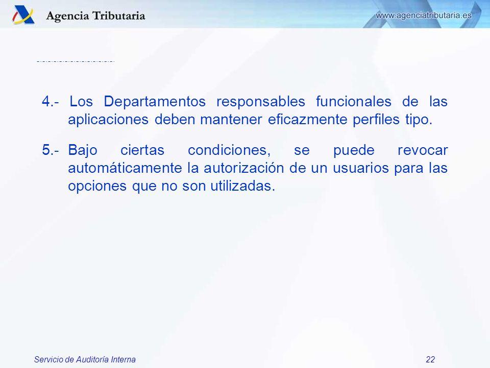4.- Los Departamentos responsables funcionales de las aplicaciones deben mantener eficazmente perfiles tipo.