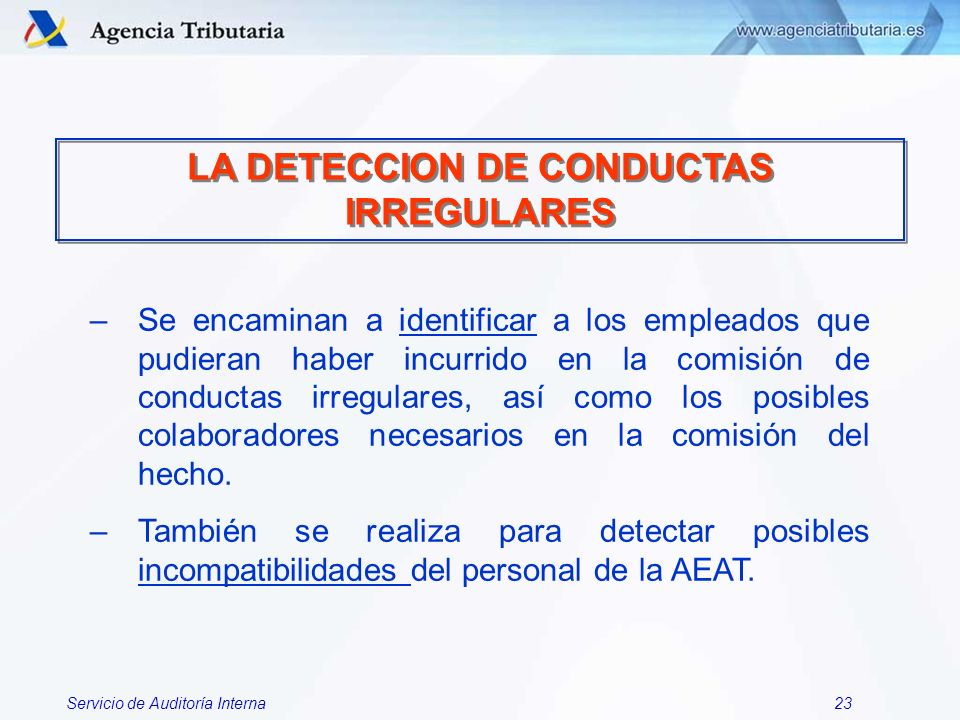 LA DETECCION DE CONDUCTAS IRREGULARES