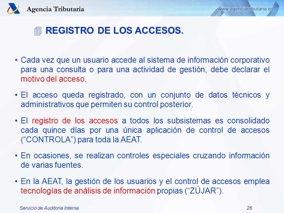 REGISTRO DE LOS ACCESOS.