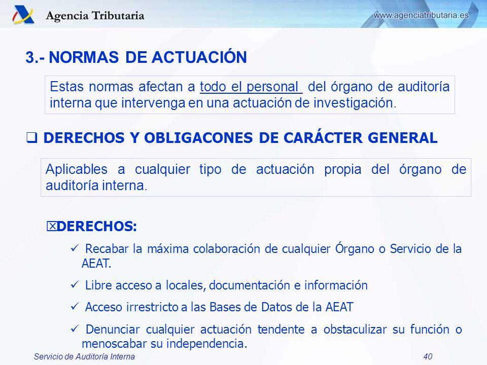3.- NORMAS DE ACTUACIÓN DERECHOS Y OBLIGACONES DE CARÁCTER GENERAL
